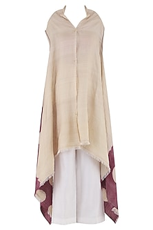 Beige Dyed and Embroidered Overlayer
