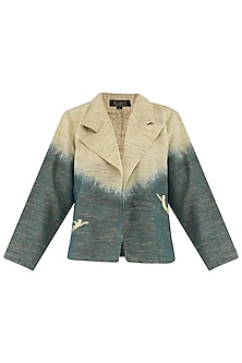 Beige Dyed and Embroidered Motifs Jacket