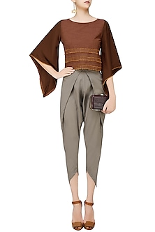 Brick Red Bell Sleeves Crop Top by Rouka