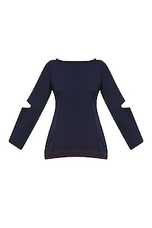 Navy Blue Edge Detail Top by Rouka