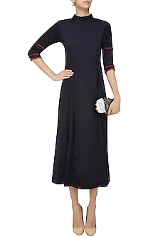 Navy Blue Round Motif and Edge Detail Long Tunic by Rouka