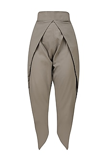 Grey Pleated Dhoti Pants by Rouka