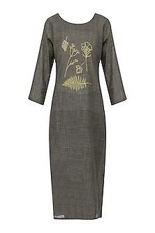 Ash Grey Floral Motif Embroidered Tunic Dress by Rouka