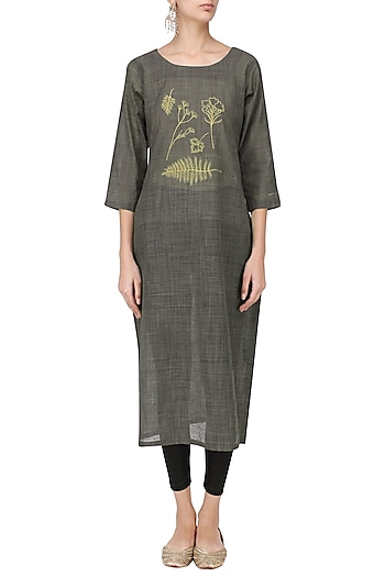 Ash Grey Motif Embroidered Tunic