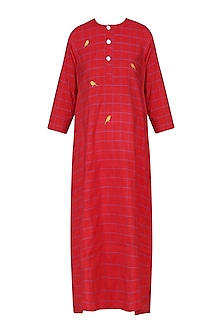 Red Bird Motif Embroidered Tunic Dress
