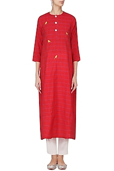 Red Bird Embroidered Tunic Dress