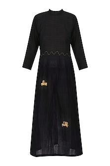 Black Vintage Car Motif Embroidered Tunic Dress