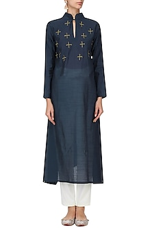 Navy Blue Motif Embroidered Tunic