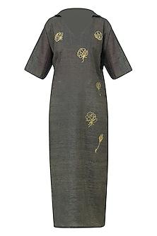 Navy Graphite Rose Motif Embroidered Kimono Tunic Dress