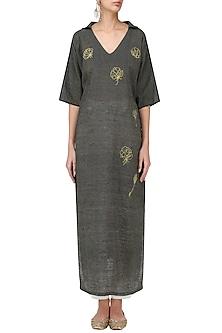 Navy Graphite Motif Embroidered Kimono