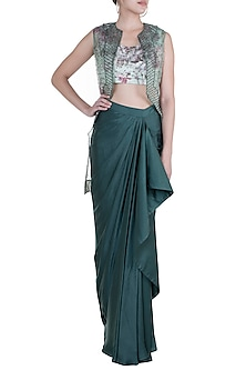 Emerald Green Skirt With Embroidered Printed Blouse & Jacket by Rozina