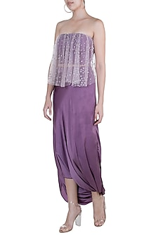 Purple Embroidered Blouse With Drape Skirt by Rozina