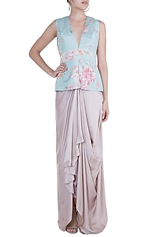 Blue Embroidered Printed Peplum Blouse With Drape Skirt by Rozina