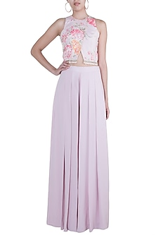 Pink Embroidered Printed Crop Top With Pleated Pants by Rozina