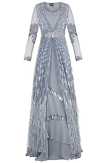 Grey Embroidered Lehenga Skirt with Jacket and Bustier by Rozina