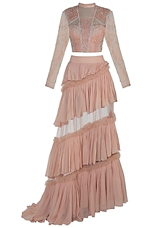 Peach Embroidered Blouse with Layered Skirt