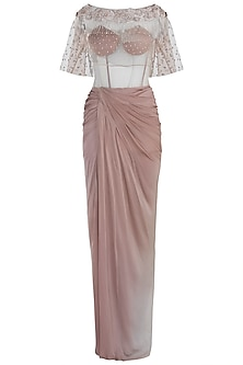 Beige Pleated Gown with Embroidered Cape