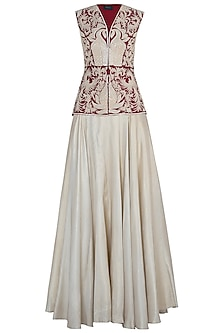Maroon Embroidered Peplum with Gold Lehenga Skirt