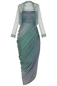 Green Drape Gown with Embroidered Jacket