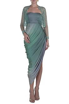 Green Drape Gown with Embroidered Jacket by Rozina