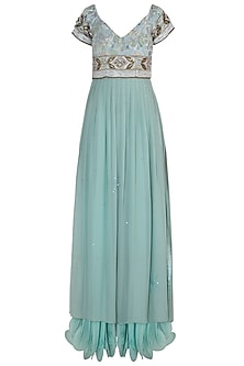Serene Blue Embroidered Gown