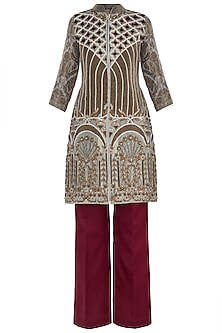 Offwhite and Maroon Embroidered Kurta Set