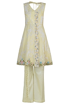Lemon Embroidered Kurta Set by Rozina