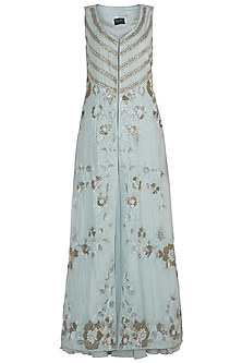 Serene Blue Gown with Embroidered Jacket