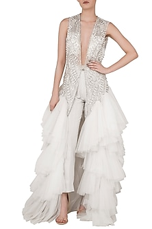 Off White Embroidered Front Open Jacket with Straight Pants by Rozina