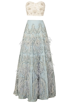 Off White Embroidered Bustier with Sky Blue Lehenga Skirt