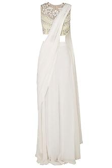 Lemon Yellow Embroidered Blouse with Off White Lehenga Skirt