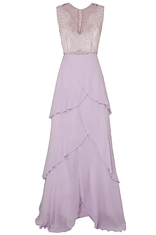 Lilac Embroidered Layered Gown