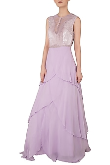 Lilac Embroidered Layered Gown by Rozina