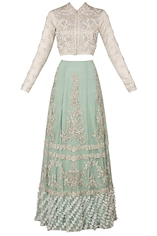 Off White Embroidered Blouse with Pista Green Lehenga Skirt