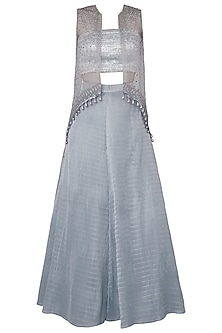 Light Grey Asymmetrical Embroidered Cape with Bustier and Lehenga Skirt
