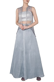 Light Grey Asymmetrical Embroidered Cape with Bustier and Lehenga Skirt by Rozina