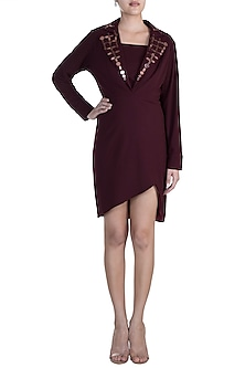 Burgundy Embellished Dress With Bustier by RS by Rippii Sethi