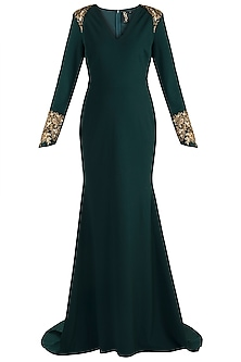 Dark Green Embroidered Fishtail Gown by RS by Rippii Sethi