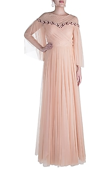 Peach Embellished Off Shoulder Gown by RS by Rippii Sethi
