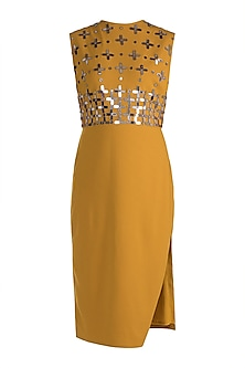 Mustard Embellished Shift Dress by RS by Rippii Sethi