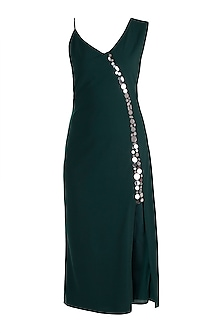 Deep Green Embellished Slit Dress by RS by Rippii Sethi