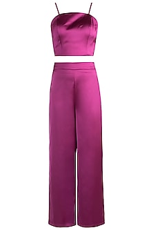 Magenta Pink Crop Top With Pants