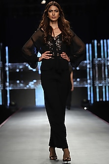 Black Top With Pants & Crop Top by RS by Rippii Sethi