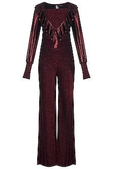 Red Metallic Bodysuit With Pants & Crop Top