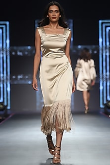 Nude Tasseled Dress by RS by Rippii Sethi