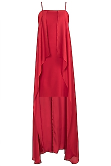 Red Satin Cape Dress by RS by Rippii Sethi