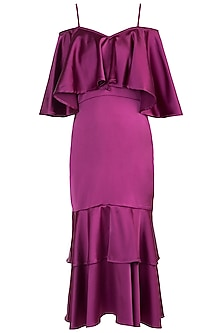 Magenta Pink Frilled Cape Gown