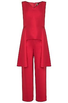 Red Side Draped Top With Pants