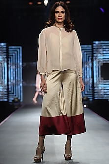 Nude Long Top With Culotte Pants & Inner by RS by Rippii Sethi