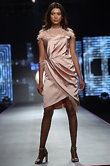 Peach Classic Feather Dress by RS by Rippii Sethi